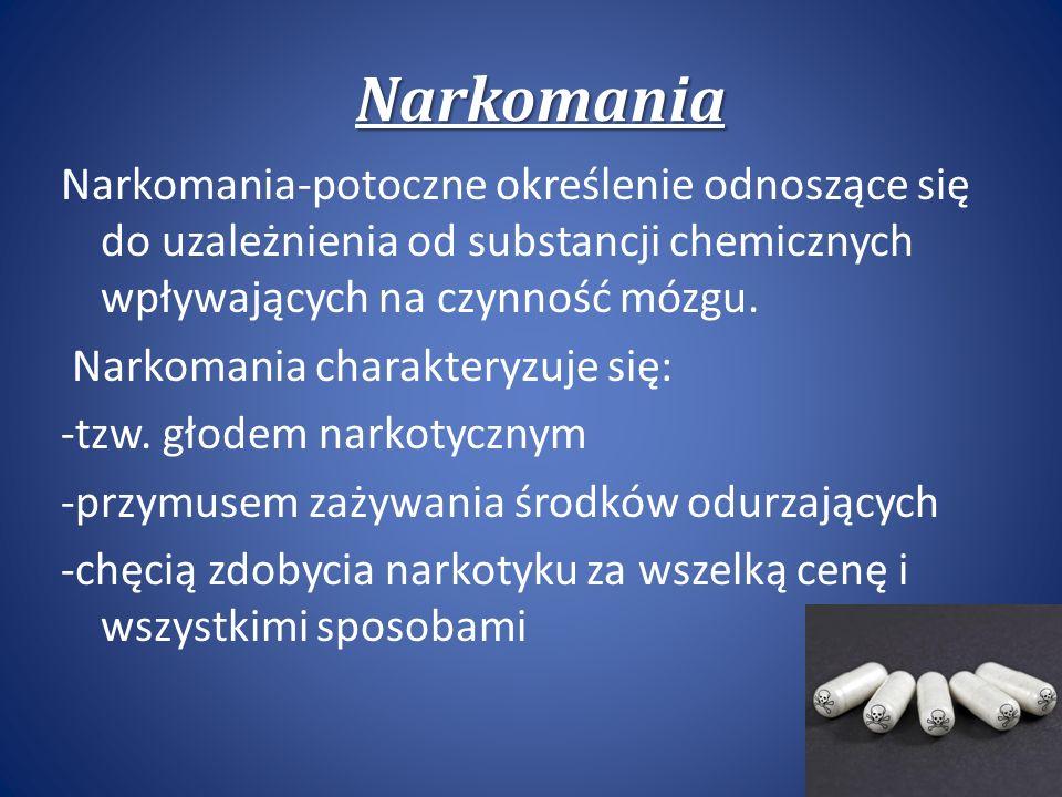 Narkomania Narkomania-potoczne określenie odnoszące się do uzależnienia od substancji chemicznych wpływających na czynność mózgu.