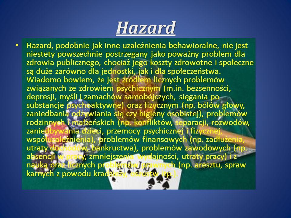 Hazard Hazard, podobnie jak inne uzależnienia behawioralne, nie jest niestety powszechnie postrzegany jako poważny problem dla zdrowia publicznego, chociaż jego koszty zdrowotne i społeczne są duże zarówno dla jednostki, jak i dla społeczeństwa.