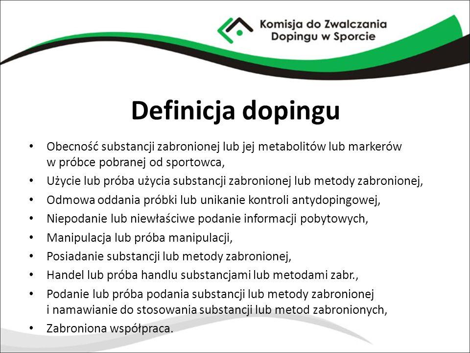 Definicja dopingu Obecność substancji zabronionej lub jej metabolitów lub markerów w próbce pobranej od sportowca, Użycie lub próba użycia substancji