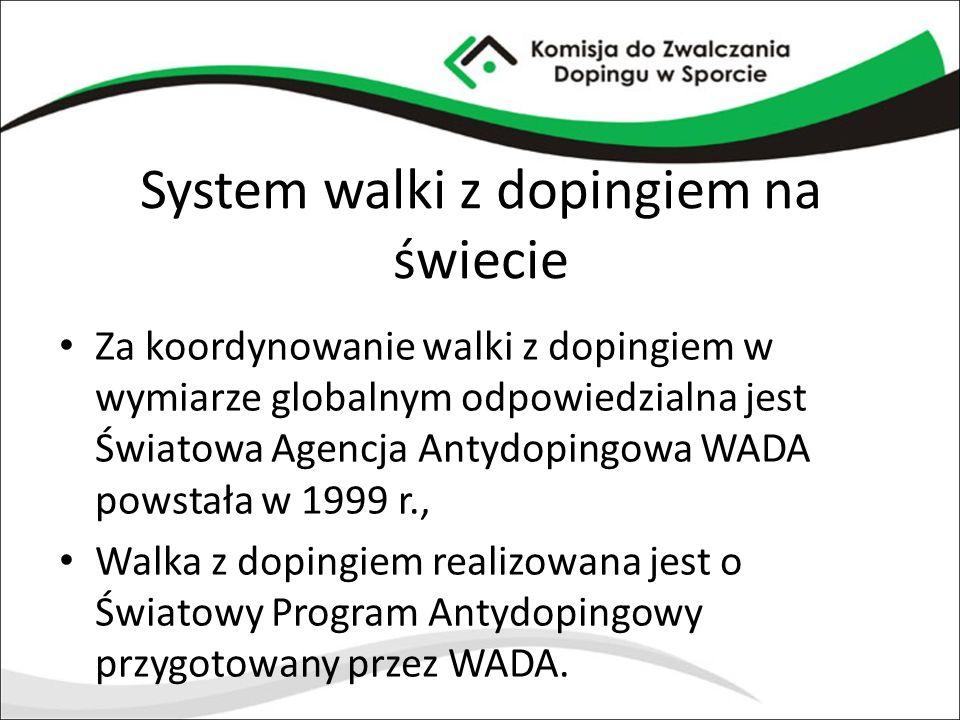 System walki z dopingiem na świecie Za koordynowanie walki z dopingiem w wymiarze globalnym odpowiedzialna jest Światowa Agencja Antydopingowa WADA po