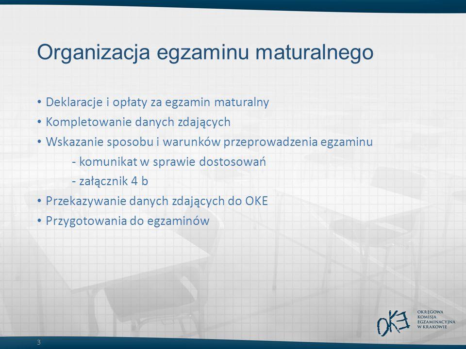 3 Organizacja egzaminu maturalnego Deklaracje i opłaty za egzamin maturalny Kompletowanie danych zdających Wskazanie sposobu i warunków przeprowadzenia egzaminu - komunikat w sprawie dostosowań - załącznik 4 b Przekazywanie danych zdających do OKE Przygotowania do egzaminów