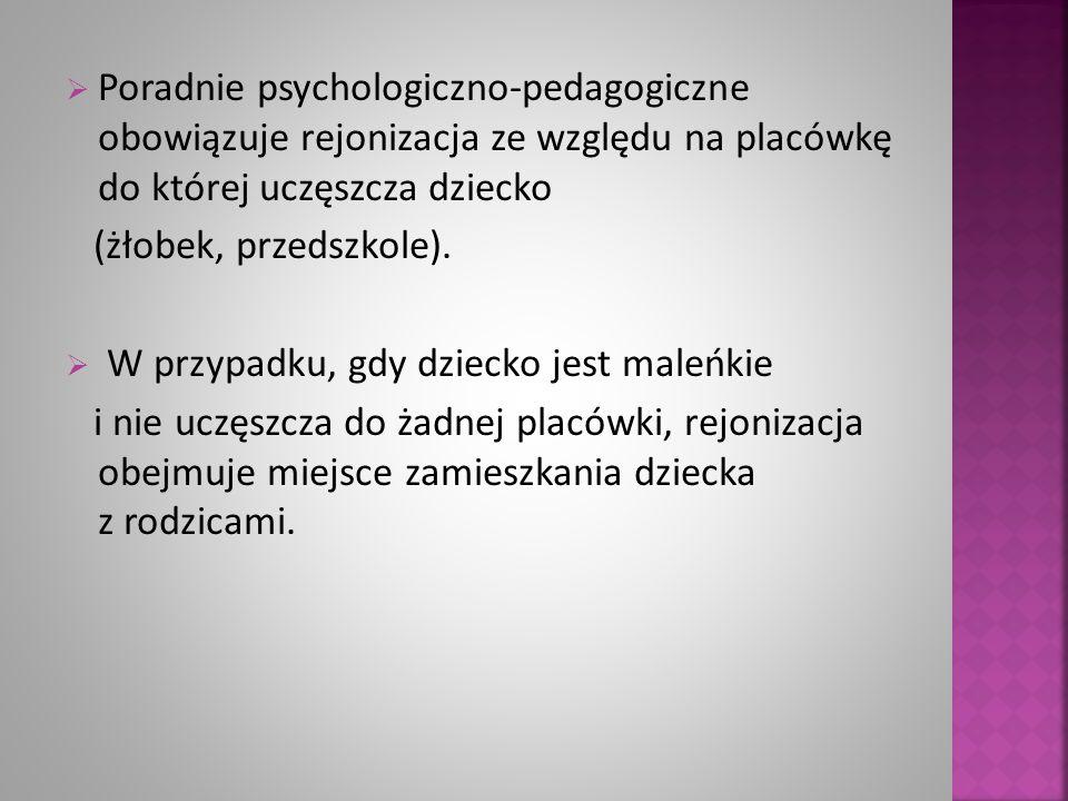  Poradnie psychologiczno-pedagogiczne obowiązuje rejonizacja ze względu na placówkę do której uczęszcza dziecko (żłobek, przedszkole).  W przypadku,