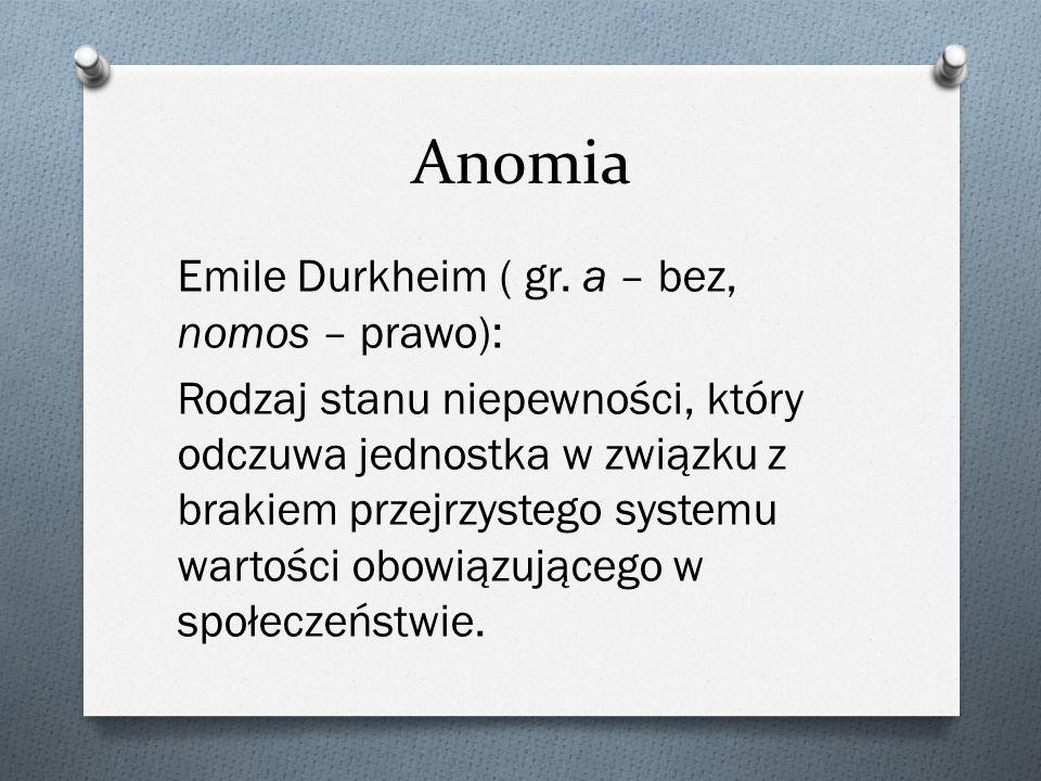 Anomia Emile Durkheim ( gr. a – bez, nomos – prawo): Rodzaj stanu niepewności, który odczuwa jednostka w związku z brakiem przejrzystego systemu warto