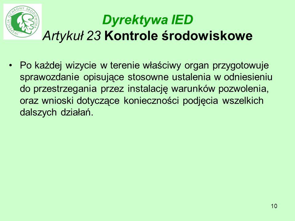 10 Dyrektywa IED Artykuł 23 Kontrole środowiskowe Po każdej wizycie w terenie właściwy organ przygotowuje sprawozdanie opisujące stosowne ustalenia w
