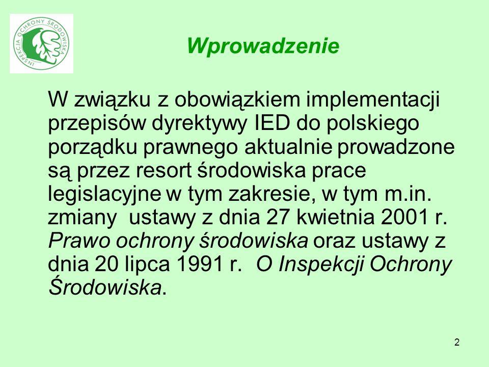 2 Wprowadzenie W związku z obowiązkiem implementacji przepisów dyrektywy IED do polskiego porządku prawnego aktualnie prowadzone są przez resort środo