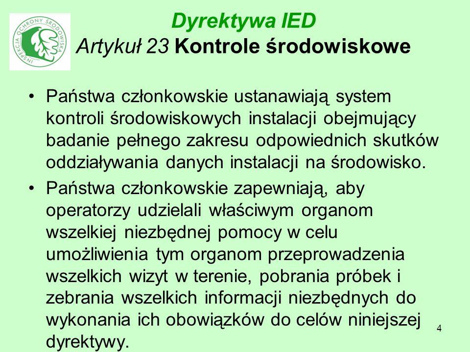 4 Dyrektywa IED Artykuł 23 Kontrole środowiskowe Państwa członkowskie ustanawiają system kontroli środowiskowych instalacji obejmujący badanie pełnego