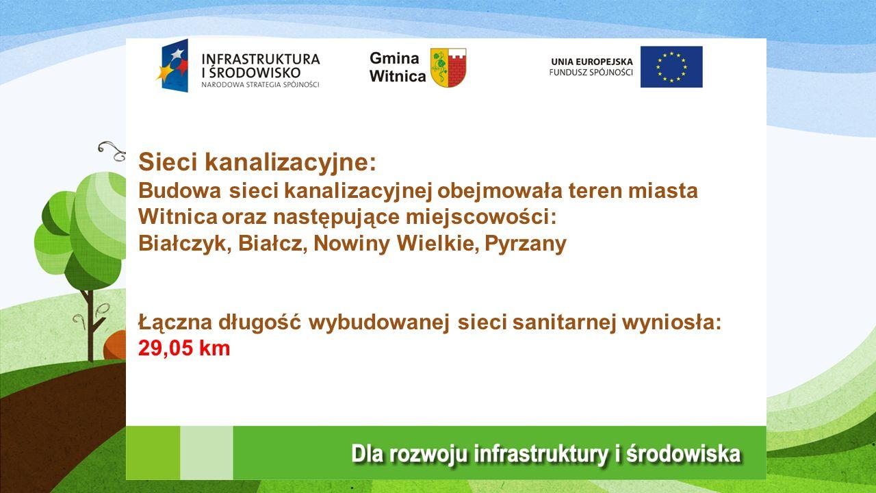 Sieci kanalizacyjne: Budowa sieci kanalizacyjnej obejmowała teren miasta Witnica oraz następujące miejscowości: Białczyk, Białcz, Nowiny Wielkie, Pyrzany Łączna długość wybudowanej sieci sanitarnej wyniosła: 29,05 km