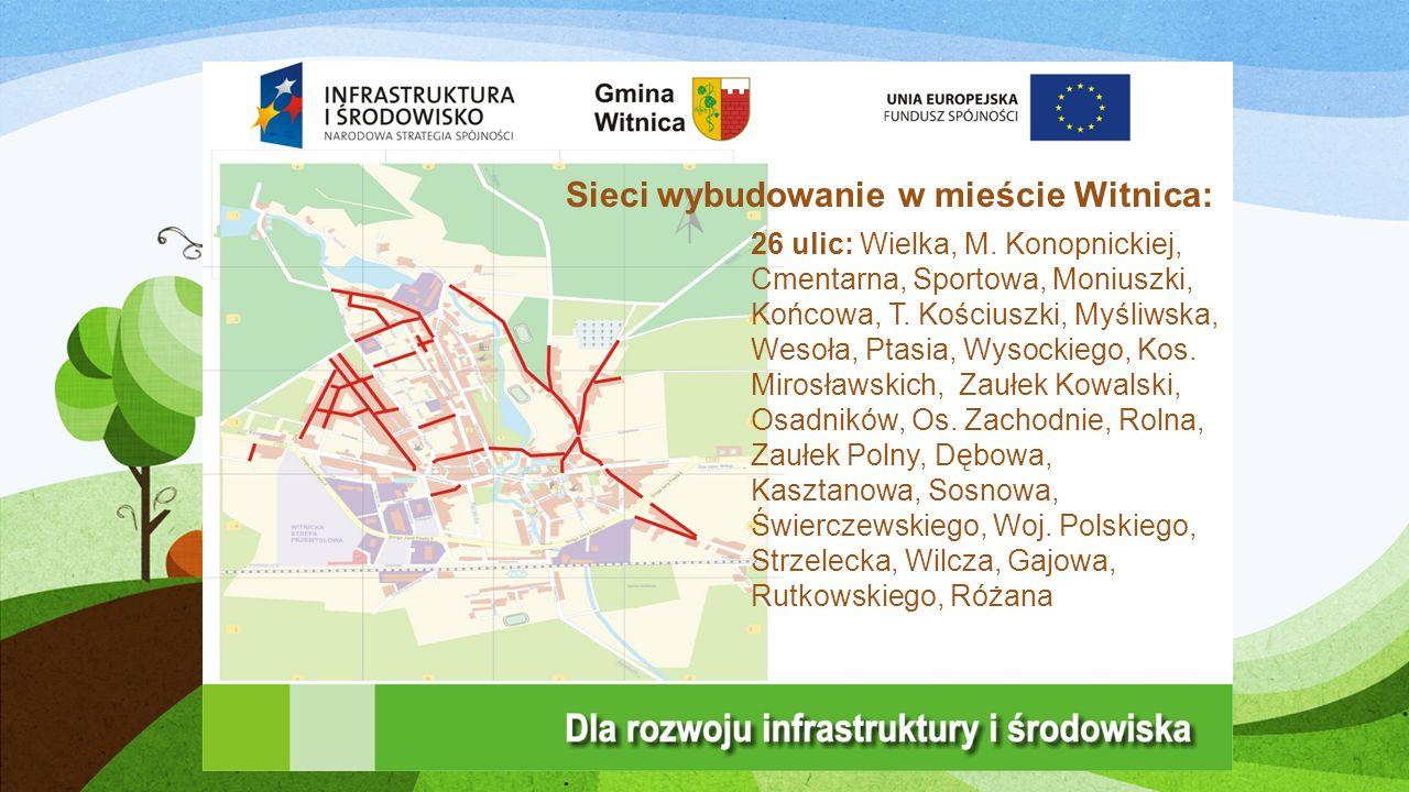 Sieci wybudowanie w mieście Witnica: 26 ulic: Wielka, M.