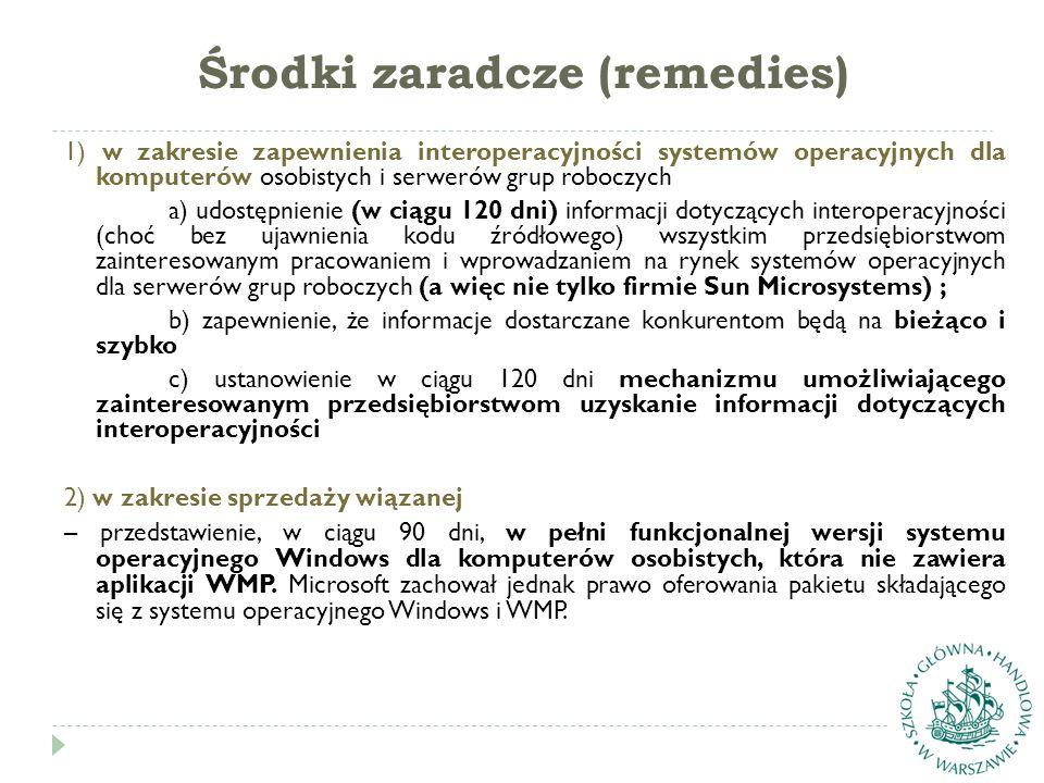 Środki zaradcze (remedies) 1) w zakresie zapewnienia interoperacyjności systemów operacyjnych dla komputerów osobistych i serwerów grup roboczych a) u