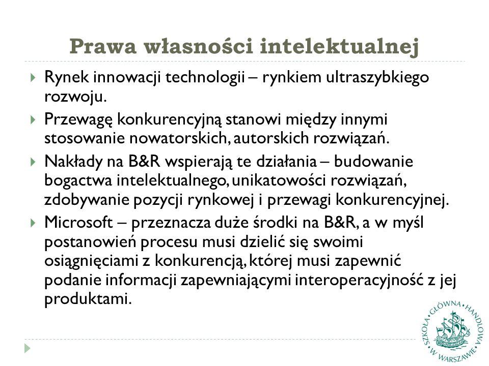 Prawa własności intelektualnej  Rynek innowacji technologii – rynkiem ultraszybkiego rozwoju.  Przewagę konkurencyjną stanowi między innymi stosowan