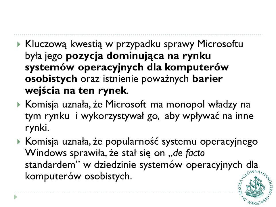  Kluczową kwestią w przypadku sprawy Microsoftu była jego pozycja dominująca na rynku systemów operacyjnych dla komputerów osobistych oraz istnienie poważnych barier wejścia na ten rynek.