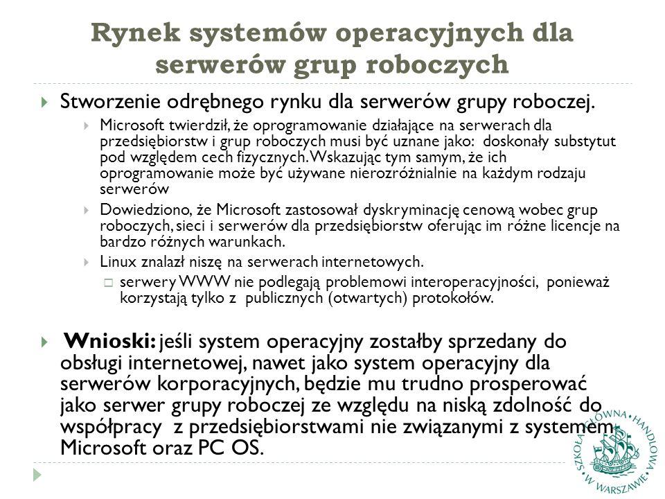Rynek systemów operacyjnych dla serwerów grup roboczych  Stworzenie odrębnego rynku dla serwerów grupy roboczej.  Microsoft twierdził, że oprogramow