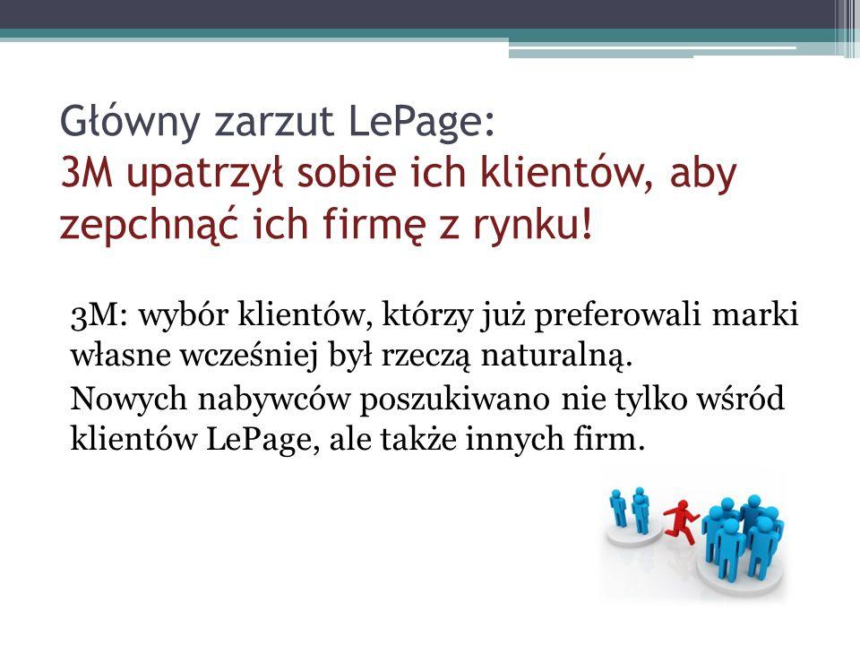 Główny zarzut LePage: 3M upatrzył sobie ich klientów, aby zepchnąć ich firmę z rynku! 3M: wybór klientów, którzy już preferowali marki własne wcześnie