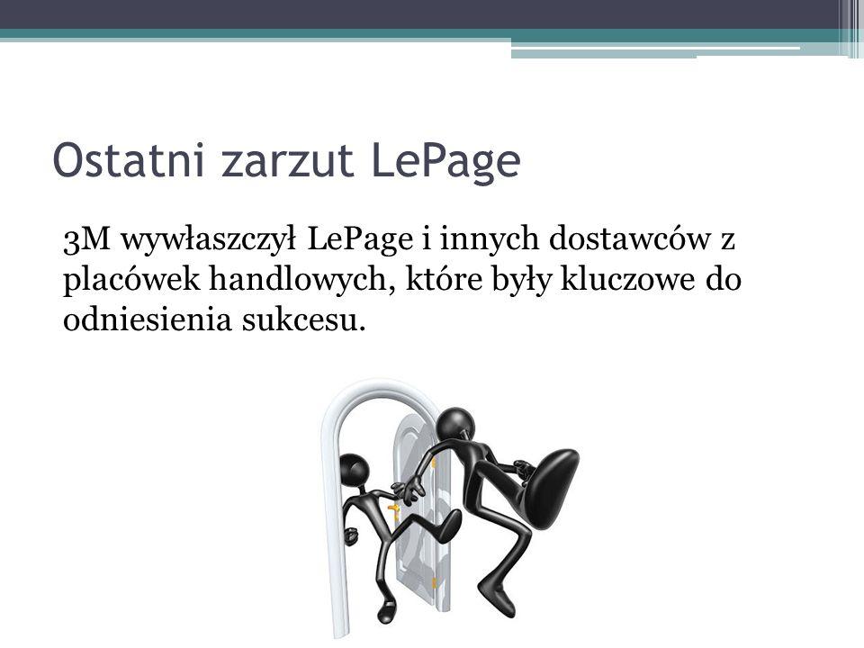 Ostatni zarzut LePage 3M wywłaszczył LePage i innych dostawców z placówek handlowych, które były kluczowe do odniesienia sukcesu.