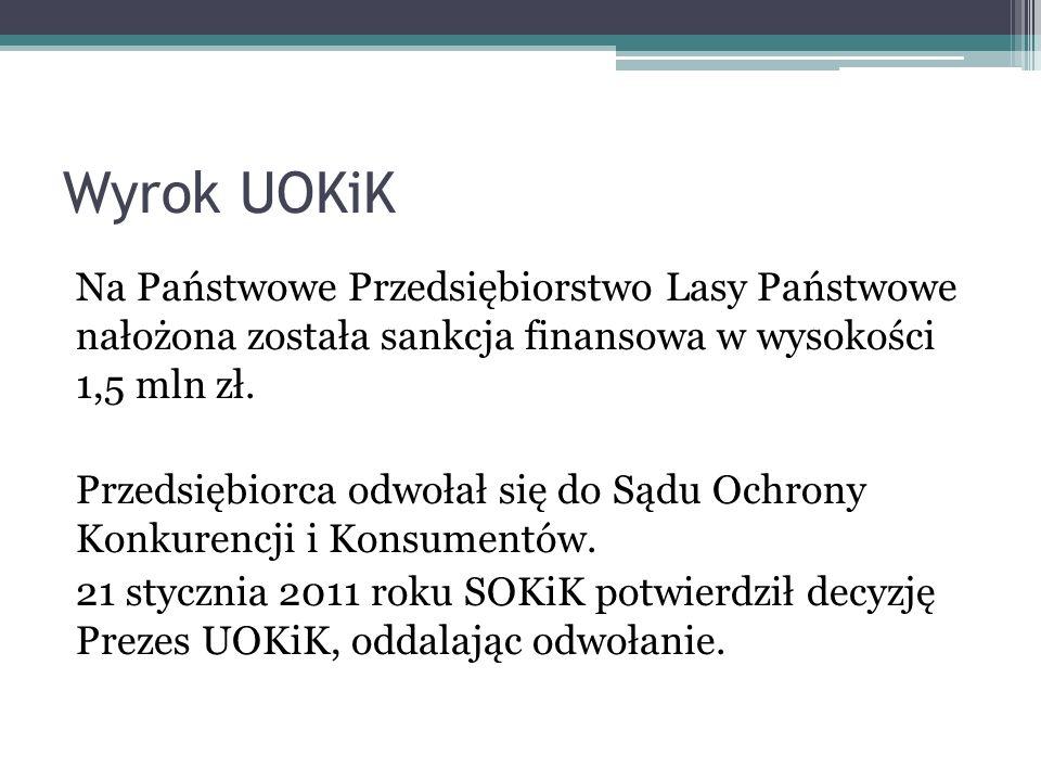 Wyrok UOKiK Na Państwowe Przedsiębiorstwo Lasy Państwowe nałożona została sankcja finansowa w wysokości 1,5 mln zł. Przedsiębiorca odwołał się do Sądu