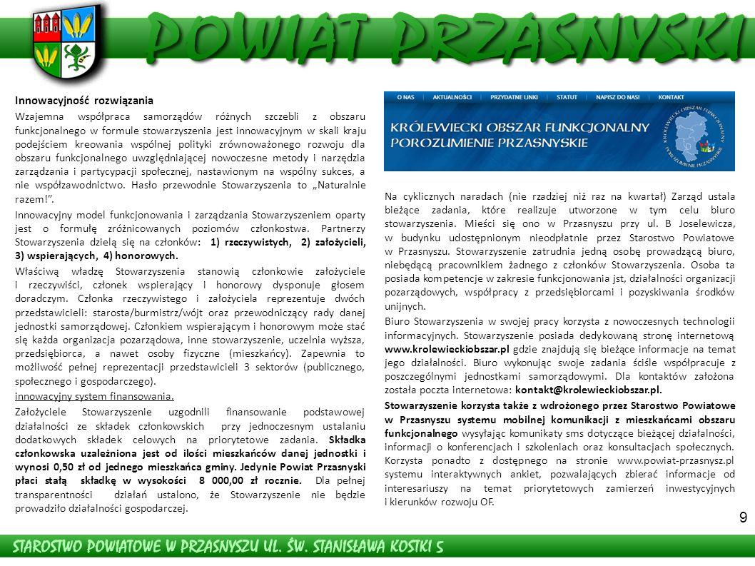 Stan aktualny - Odcinek Dzierzgowo- Grójec-Klewki Droga Przasnysz - Baranowo (wieś Bartniki) – odcinek po remoncie 9 Innowacyjność rozwiązania Wzajemna współpraca samorządów różnych szczebli z obszaru funkcjonalnego w formule stowarzyszenia jest innowacyjnym w skali kraju podejściem kreowania wspólnej polityki zrównoważonego rozwoju dla obszaru funkcjonalnego uwzględniającej nowoczesne metody i narzędzia zarządzania i partycypacji społecznej, nastawionym na wspólny sukces, a nie współzawodnictwo.
