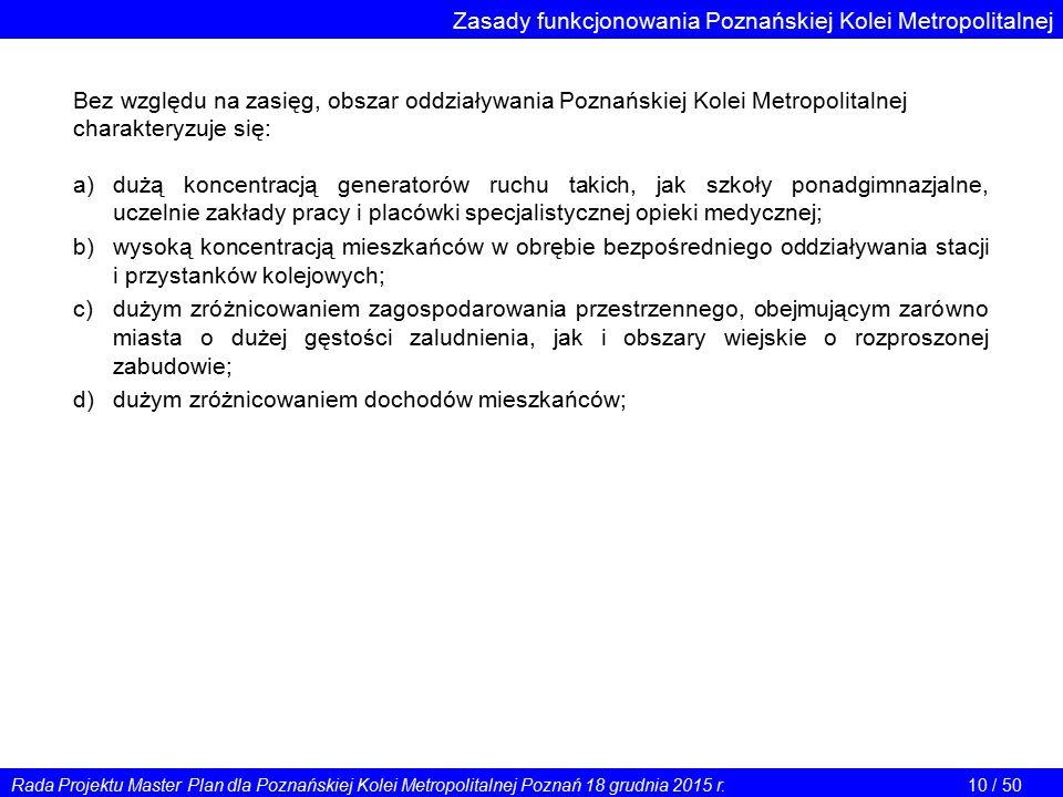 Zasady funkcjonowania Poznańskiej Kolei Metropolitalnej Bez względu na zasięg, obszar oddziaływania Poznańskiej Kolei Metropolitalnej charakteryzuje s