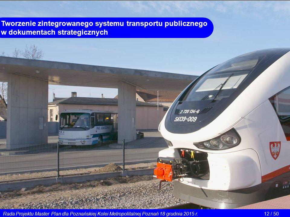 Tworzenie zintegrowanego systemu transportu publicznego w dokumentach strategicznych Rada Projektu Master Plan dla Poznańskiej Kolei Metropolitalnej Poznań 18 grudnia 2015 r.12 / 50