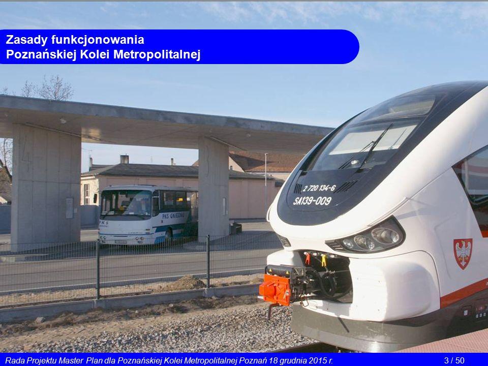 Rada Projektu Master Plan dla Poznańskiej Kolei Metropolitalnej Poznań 18 grudnia 2015 r.3 / 50 Zasady funkcjonowania Poznańskiej Kolei Metropolitalne