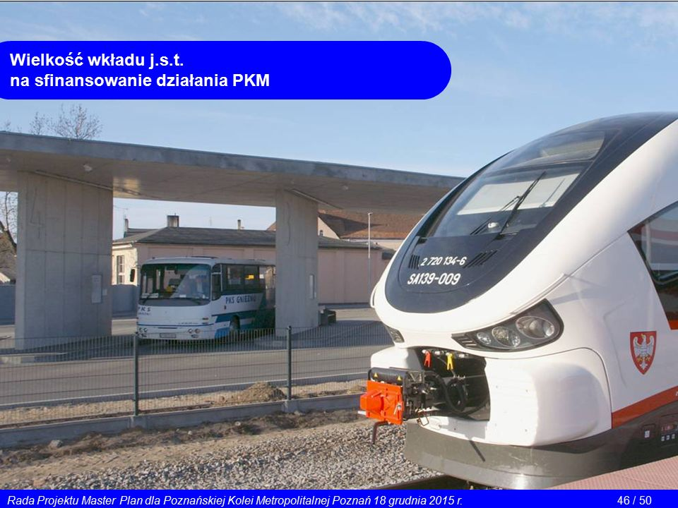 Wielkość wkładu j.s.t. na sfinansowanie działania PKM Rada Projektu Master Plan dla Poznańskiej Kolei Metropolitalnej Poznań 18 grudnia 2015 r.46 / 50