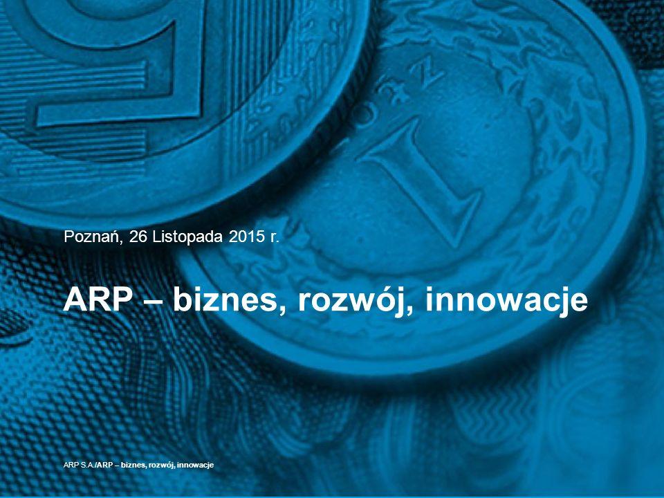ARP – biznes, rozwój, innowacje Poznań, 26 Listopada 2015 r. ARP S.A./ARP – biznes, rozwój, innowacje