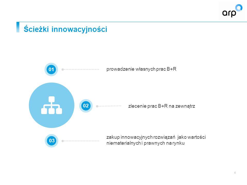 Ścieżki innowacyjności 4 zakup innowacyjnych rozwiązań jako wartości niematerialnych i prawnych na rynku 0102 03 prowadzenie własnych prac B+R zlecenie prac B+R na zewnątrz