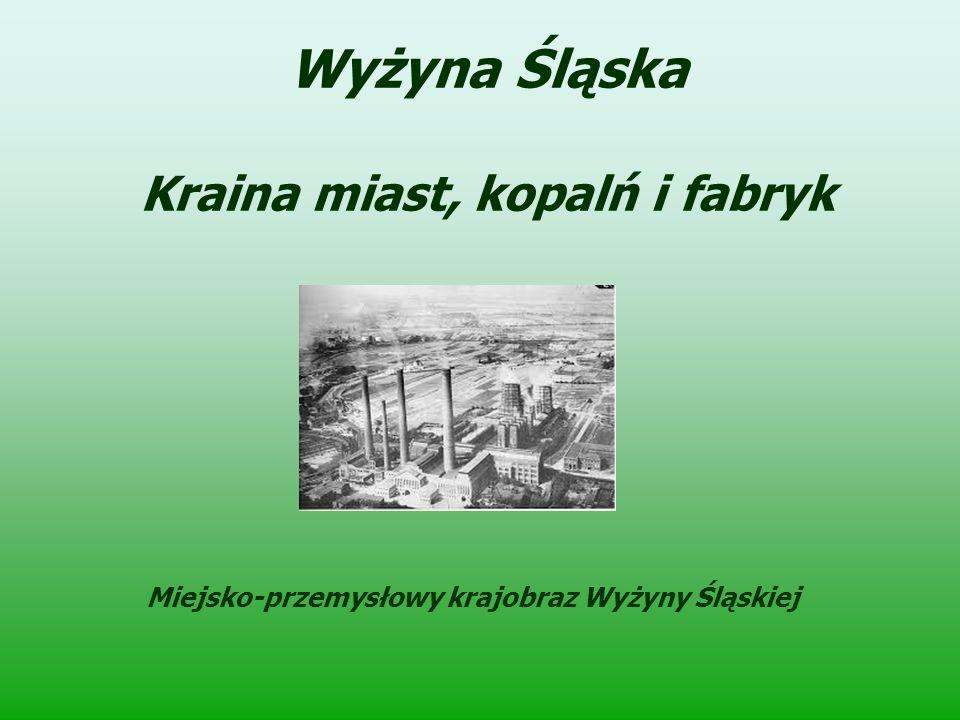 Wyżyna Śląska Kraina miast, kopalń i fabryk Miejsko-przemysłowy krajobraz Wyżyny Śląskiej