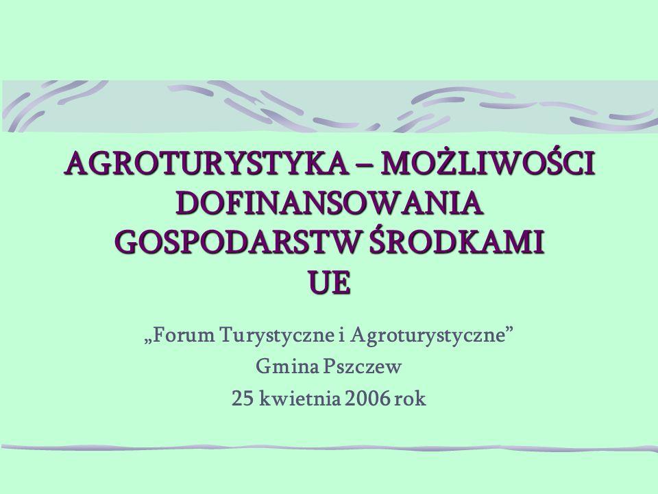 """AGROTURYSTYKA – MOŻLIWOŚCI DOFINANSOWANIA GOSPODARSTW ŚRODKAMI UE """"Forum Turystyczne i Agroturystyczne Gmina Pszczew 25 kwietnia 2006 rok"""