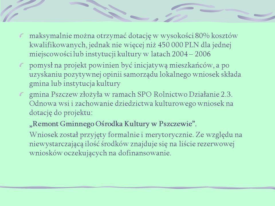 maksymalnie można otrzymać dotację w wysokości 80% kosztów kwalifikowanych, jednak nie więcej niż 450 000 PLN dla jednej miejscowości lub instytucji kultury w latach 2004 – 2006 pomysł na projekt powinien być inicjatywą mieszkańców, a po uzyskaniu pozytywnej opinii samorządu lokalnego wniosek składa gmina lub instytucja kultury gmina Pszczew złożyła w ramach SPO Rolnictwo Działanie 2.3.