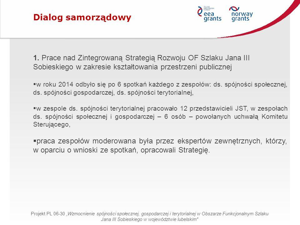 1. Prace nad Zintegrowaną Strategią Rozwoju OF Szlaku Jana III Sobieskiego w zakresie kształtowania przestrzeni publicznej  w roku 2014 odbyło się po