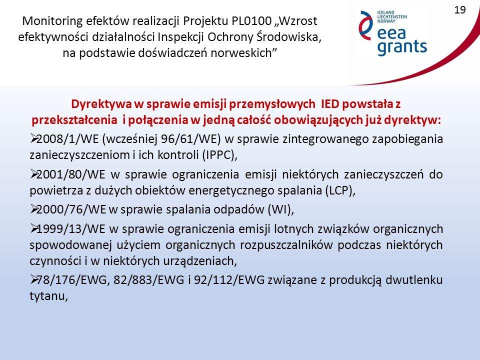 """Monitoring efektów realizacji Projektu PL0100 """"Wzrost efektywności działalności Inspekcji Ochrony Środowiska, na podstawie doświadczeń norweskich Dyrektywa w sprawie emisji przemysłowych IED powstała z przekształcenia i połączenia w jedną całość obowiązujących już dyrektyw:  2008/1/WE (wcześniej 96/61/WE) w sprawie zintegrowanego zapobiegania zanieczyszczeniom i ich kontroli (IPPC),  2001/80/WE w sprawie ograniczenia emisji niektórych zanieczyszczeń do powietrza z dużych obiektów energetycznego spalania (LCP),  2000/76/WE w sprawie spalania odpadów (WI),  1999/13/WE w sprawie ograniczenia emisji lotnych związków organicznych spowodowanej użyciem organicznych rozpuszczalników podczas niektórych czynności i w niektórych urządzeniach,  78/176/EWG, 82/883/EWG i 92/112/EWG związane z produkcją dwutlenku tytanu, 19"""