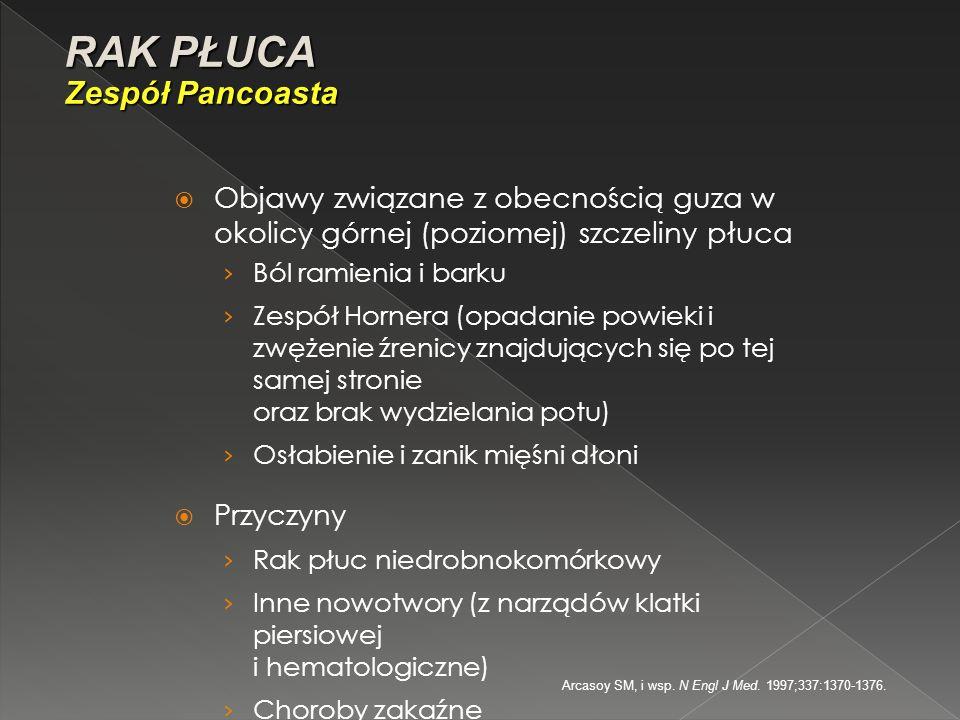 Arcasoy SM, i wsp. N Engl J Med. 1997;337:1370-1376.  Objawy związane z obecnością guza w okolicy górnej (poziomej) szczeliny płuca › Ból ramienia i