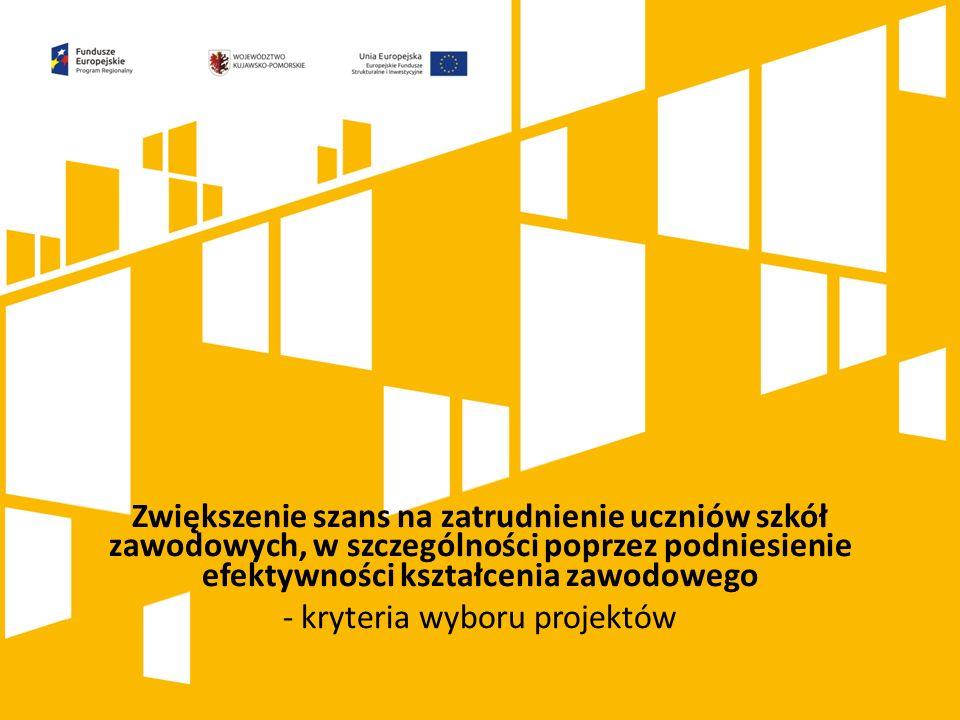 Kliknij, aby dodać tytuł prezentacji Zwiększenie szans na zatrudnienie uczniów szkół zawodowych, w szczególności poprzez podniesienie efektywności kształcenia zawodowego - kryteria wyboru projektów