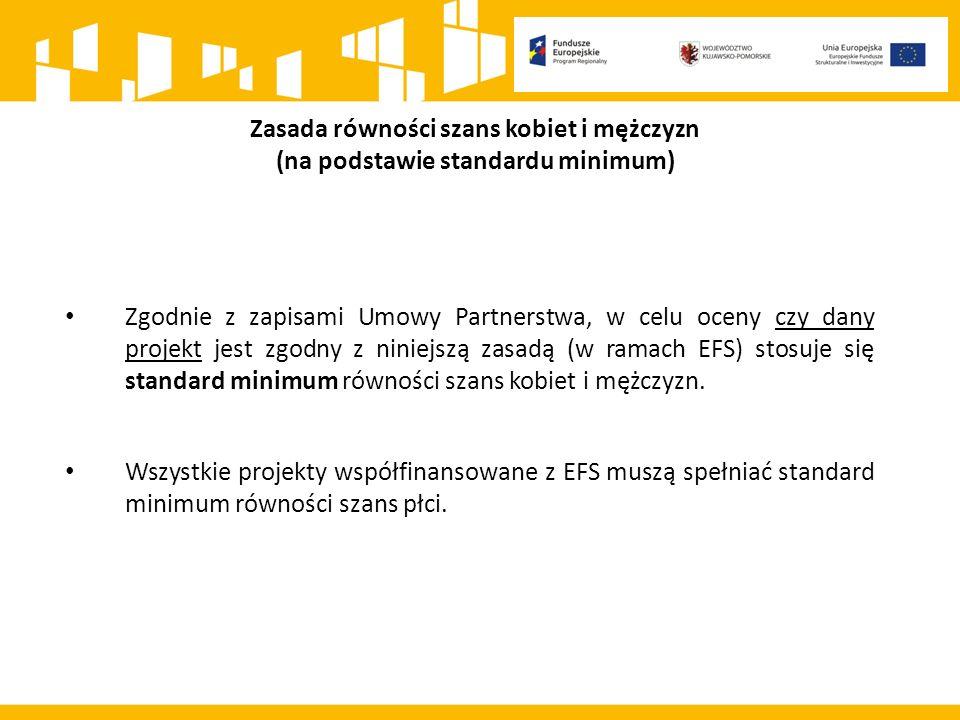 Zgodnie z zapisami Umowy Partnerstwa, w celu oceny czy dany projekt jest zgodny z niniejszą zasadą (w ramach EFS) stosuje się standard minimum równości szans kobiet i mężczyzn.