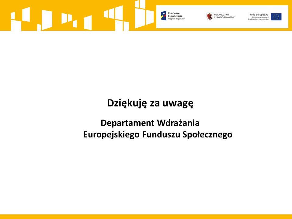 Dziękuję za uwagę Departament Wdrażania Europejskiego Funduszu Społecznego