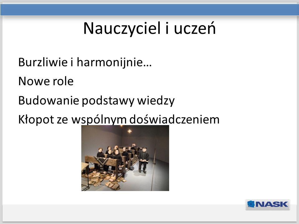 Tytuł prezentacji Podtytuł Nauczyciel i uczeń Burzliwie i harmonijnie… Nowe role Budowanie podstawy wiedzy Kłopot ze wspólnym doświadczeniem