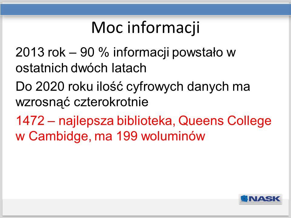 Tytuł prezentacji Podtytuł Moc informacji 2013 rok – 90 % informacji powstało w ostatnich dwóch latach Do 2020 roku ilość cyfrowych danych ma wzrosnąć czterokrotnie 1472 – najlepsza biblioteka, Queens College w Cambidge, ma 199 woluminów