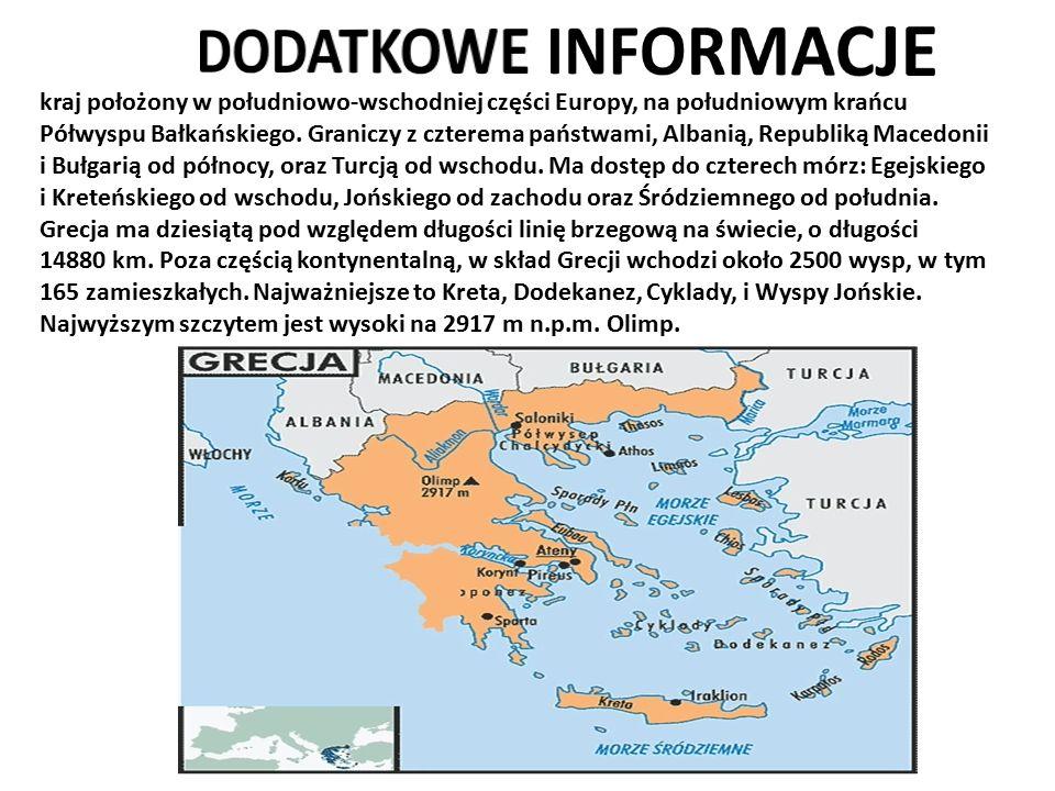 kraj położony w południowo-wschodniej części Europy, na południowym krańcu Półwyspu Bałkańskiego. Graniczy z czterema państwami, Albanią, Republiką Ma