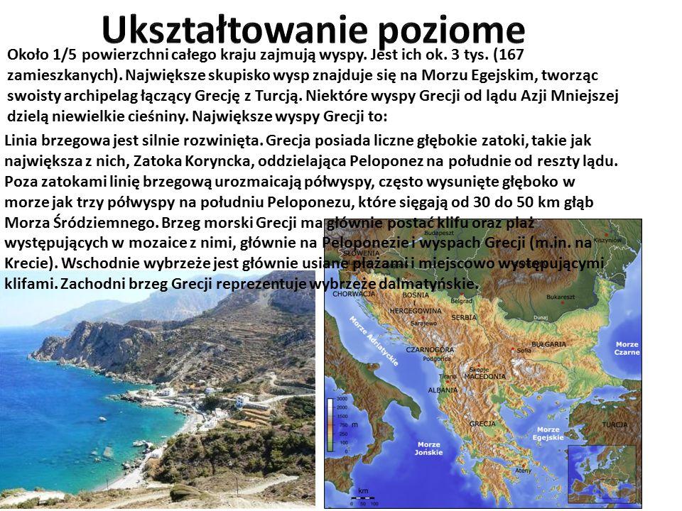 Około 1/5 powierzchni całego kraju zajmują wyspy. Jest ich ok. 3 tys. (167 zamieszkanych). Największe skupisko wysp znajduje się na Morzu Egejskim, tw