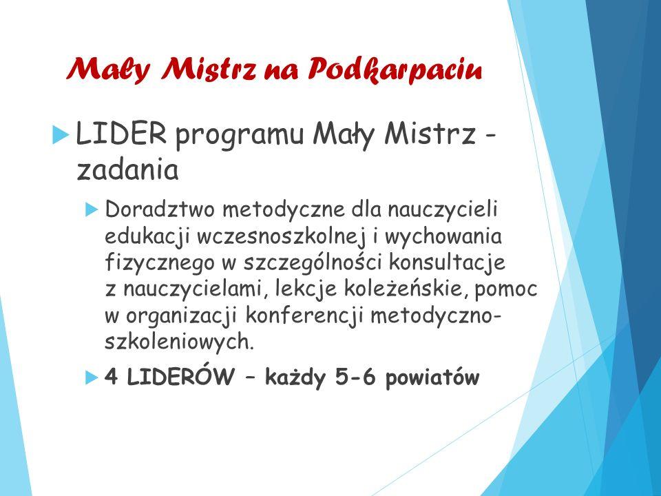 Mały Mistrz na Podkarpaciu  LIDER programu Mały Mistrz - zadania  Doradztwo metodyczne dla nauczycieli edukacji wczesnoszkolnej i wychowania fizycznego w szczególności konsultacje z nauczycielami, lekcje koleżeńskie, pomoc w organizacji konferencji metodyczno- szkoleniowych.