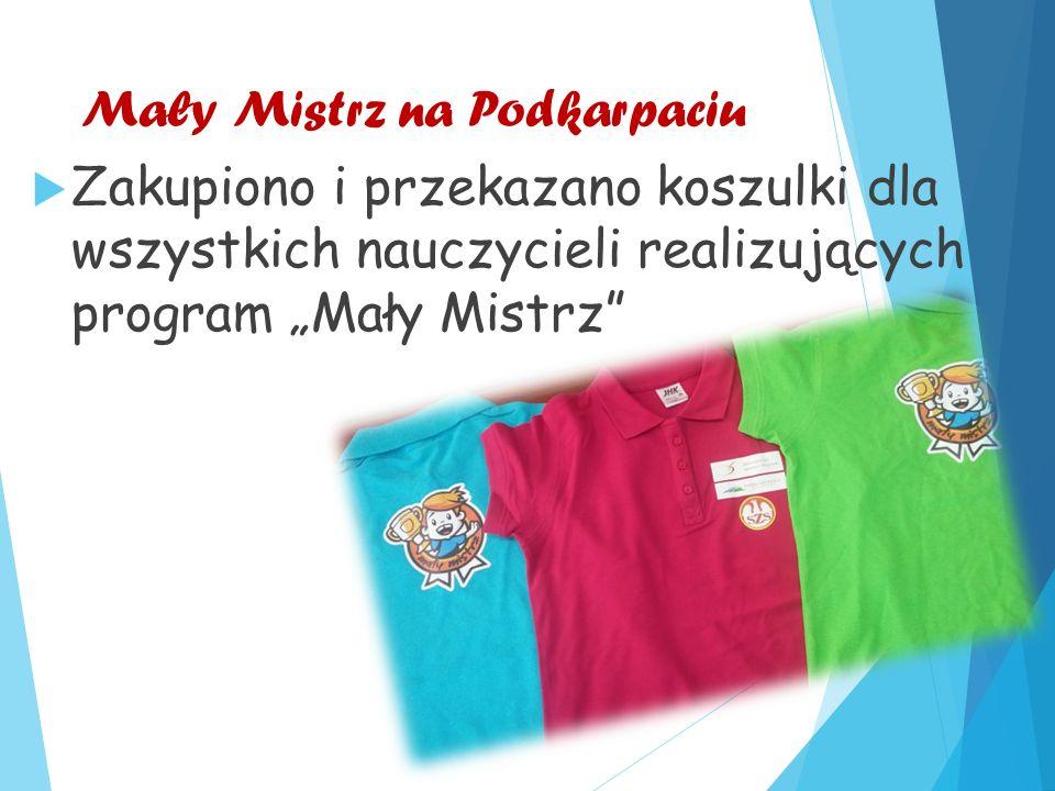 """Mały Mistrz na Podkarpaciu  Zakupiono i przekazano koszulki dla wszystkich nauczycieli realizujących program """"Mały Mistrz"""
