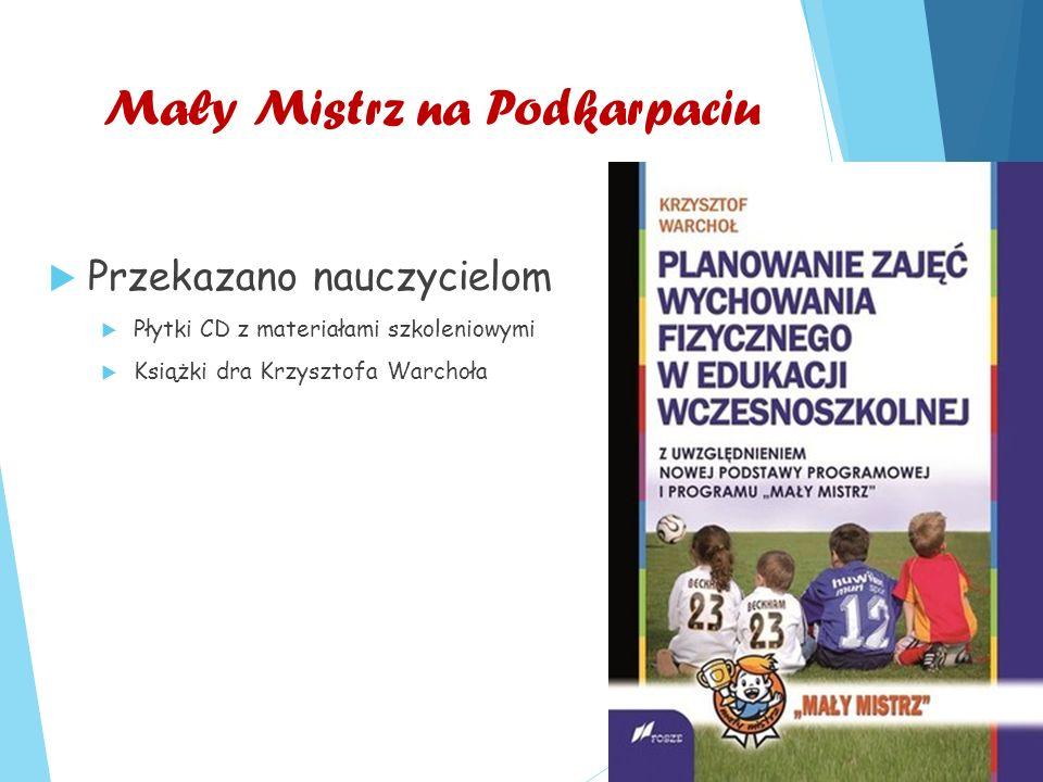 Mały Mistrz na Podkarpaciu  Przekazano nauczycielom  Płytki CD z materiałami szkoleniowymi  Książki dra Krzysztofa Warchoła