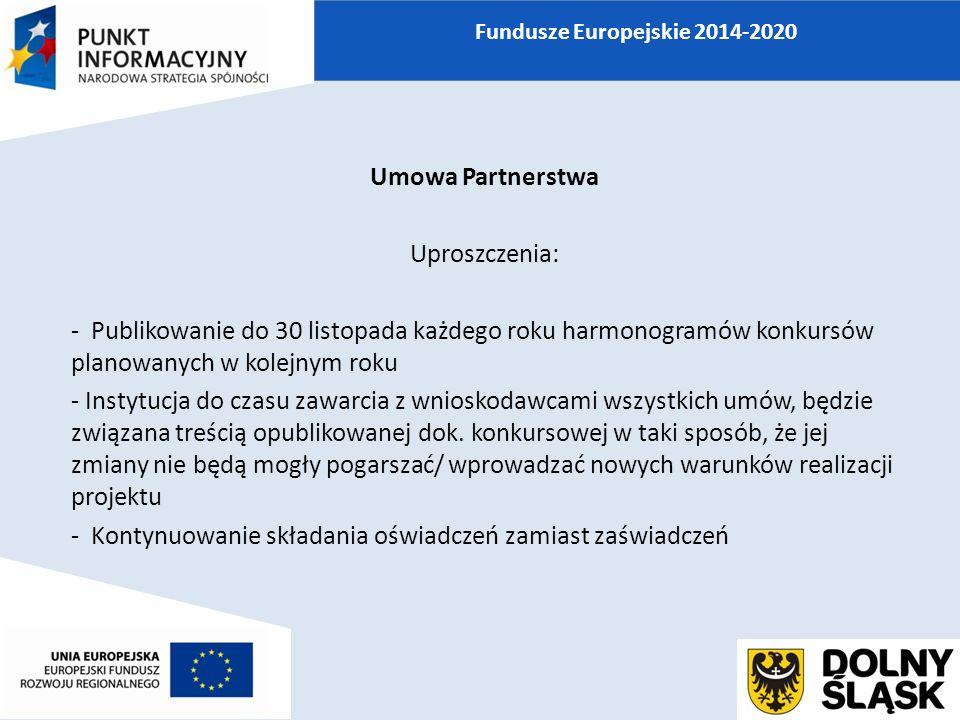 Umowa Partnerstwa Uproszczenia: - Publikowanie do 30 listopada każdego roku harmonogramów konkursów planowanych w kolejnym roku - Instytucja do czasu zawarcia z wnioskodawcami wszystkich umów, będzie związana treścią opublikowanej dok.