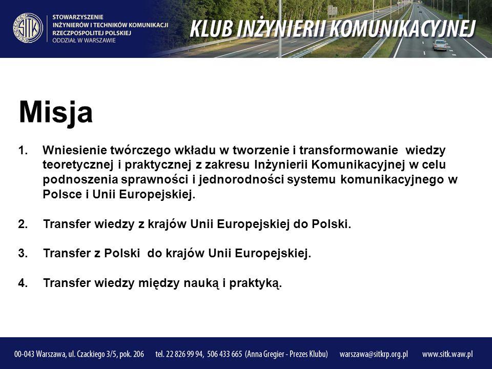 Misja 1.Wniesienie twórczego wkładu w tworzenie i transformowanie wiedzy teoretycznej i praktycznej z zakresu Inżynierii Komunikacyjnej w celu podnoszenia sprawności i jednorodności systemu komunikacyjnego w Polsce i Unii Europejskiej.