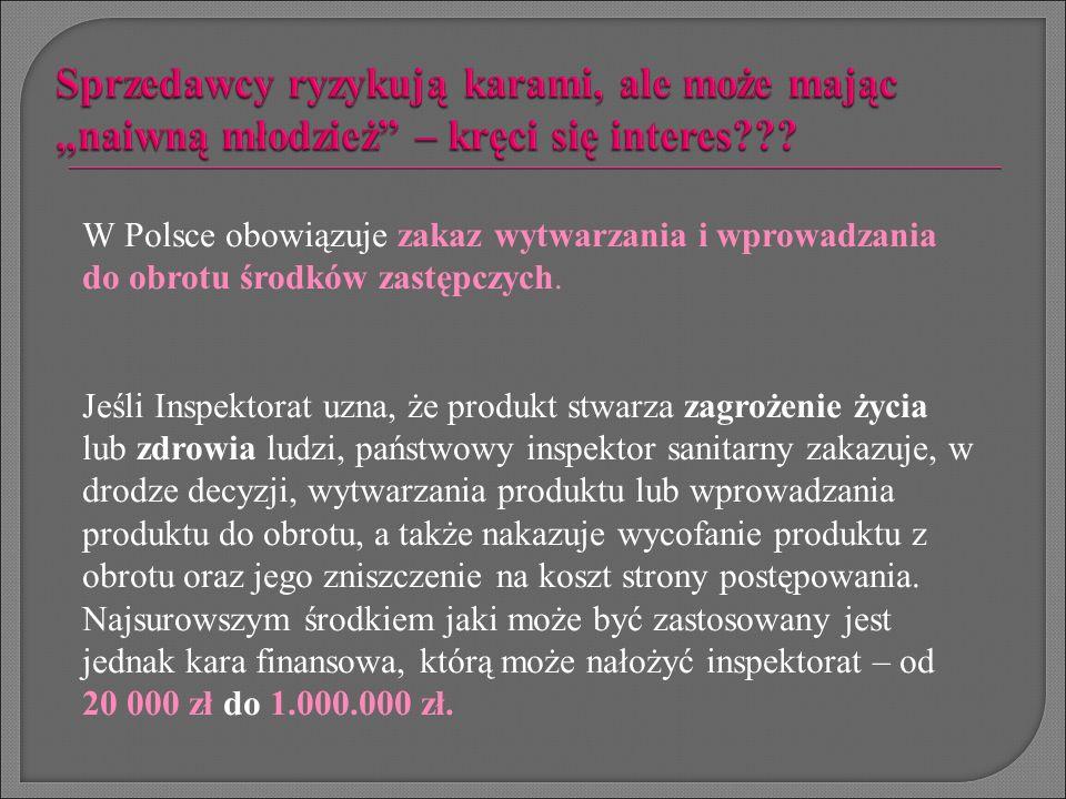 W Polsce obowiązuje zakaz wytwarzania i wprowadzania do obrotu środków zastępczych. Jeśli Inspektorat uzna, że produkt stwarza zagrożenie życia lub zd