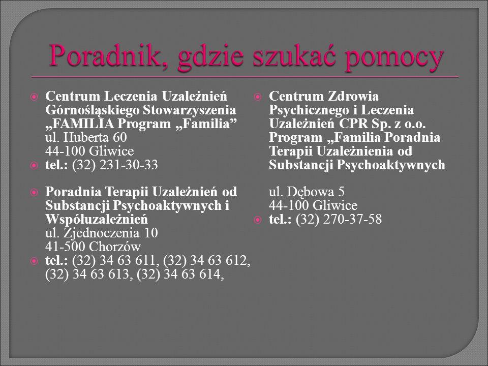 """ Centrum Leczenia Uzależnień Górnośląskiego Stowarzyszenia """"FAMILIA Program """"Familia"""" ul. Huberta 60 44-100 Gliwice  tel.: (32) 231-30-33  Poradnia"""