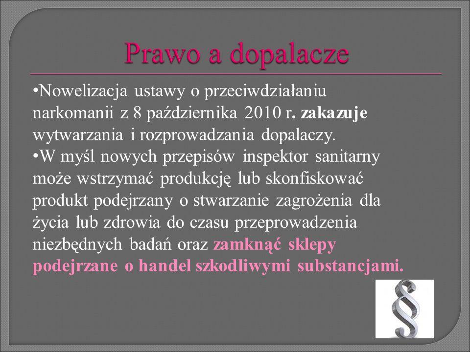 Nowelizacja ustawy o przeciwdziałaniu narkomanii z 8 października 2010 r. zakazuje wytwarzania i rozprowadzania dopalaczy. W myśl nowych przepisów ins