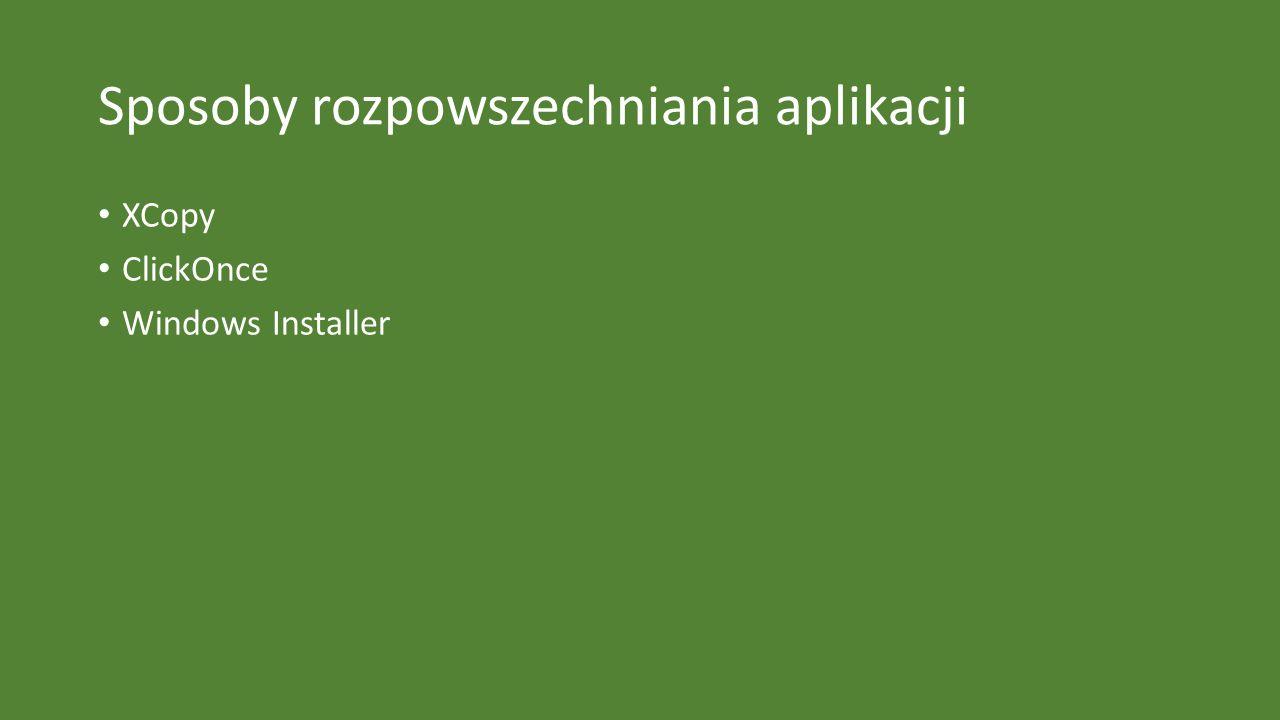 Sposoby rozpowszechniania aplikacji XCopy ClickOnce Windows Installer