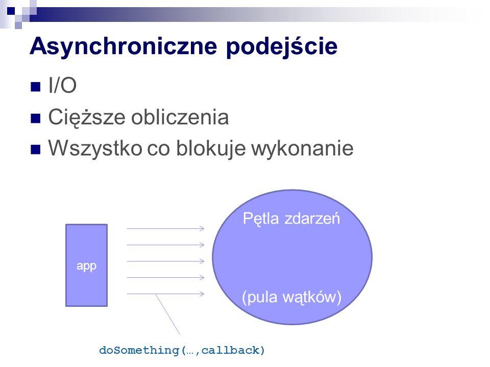 Asynchroniczne podejście I/O Cięższe obliczenia Wszystko co blokuje wykonanie app Pętla zdarzeń (pula wątków) doSomething(…,callback)