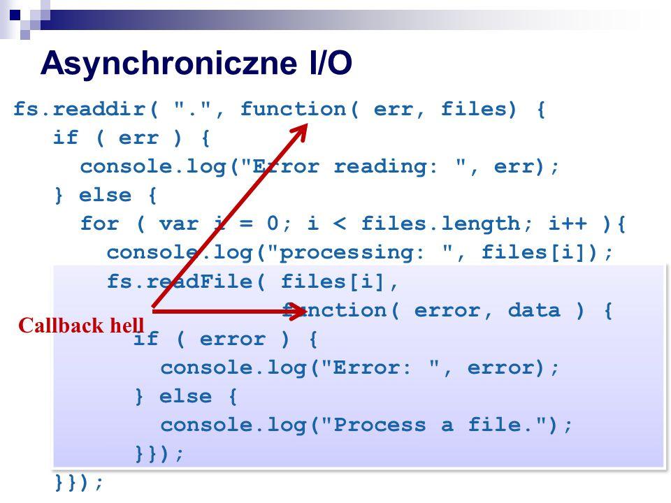Asynchroniczne I/O fs.readdir( . , function( err, files) { if ( err ) { console.log( Error reading: , err); } else { for ( var i = 0; i < files.length; i++ ){ console.log( processing: , files[i]); fs.readFile( files[i], function( error, data ) { if ( error ) { console.log( Error: , error); } else { console.log( Process a file. ); }}); Callback hell